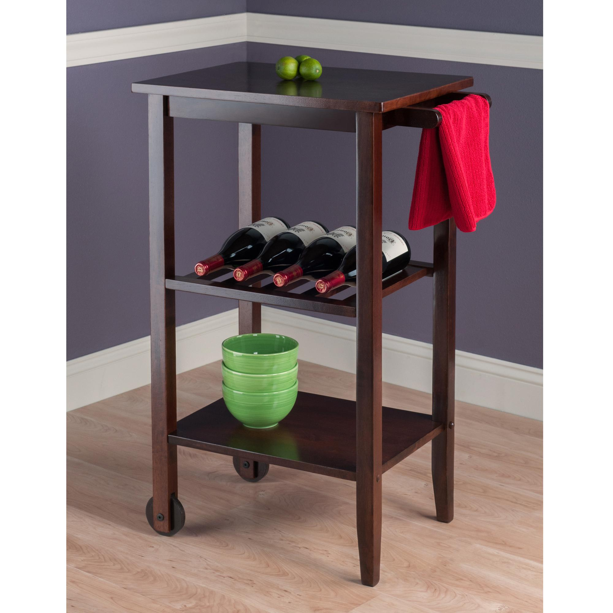 Winsome Stevenson Kitchen Cart With  Wood Wheel Brown