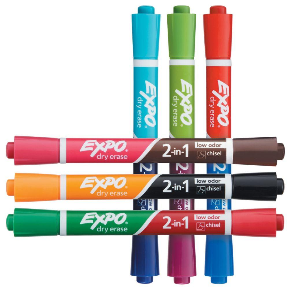 Amazon.com: EXPO Dry Erase 2-in-1 Markers, Chisel Tip