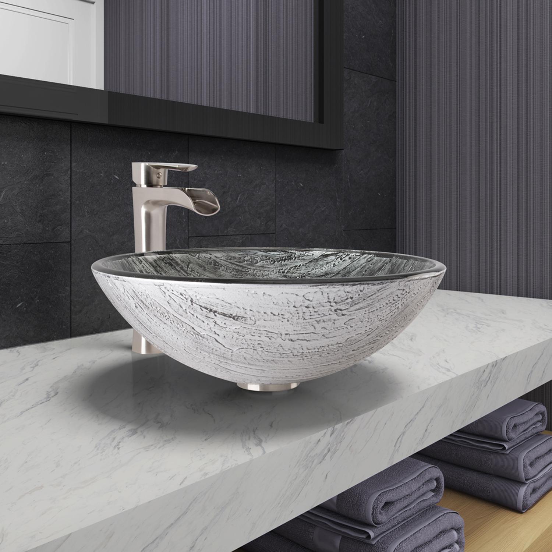 7 Faucet Finishes For Fabulous Bathrooms: VIGO Titanium Glass Vessel Bathroom Sink