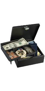 7143D Cash Box With 4 Compartment Tray