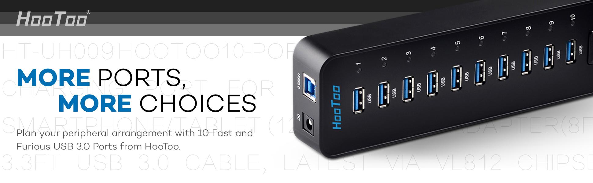 Amazon.com: HooToo USB 3.0 Hub 10-Port with 12V/4A Power ...