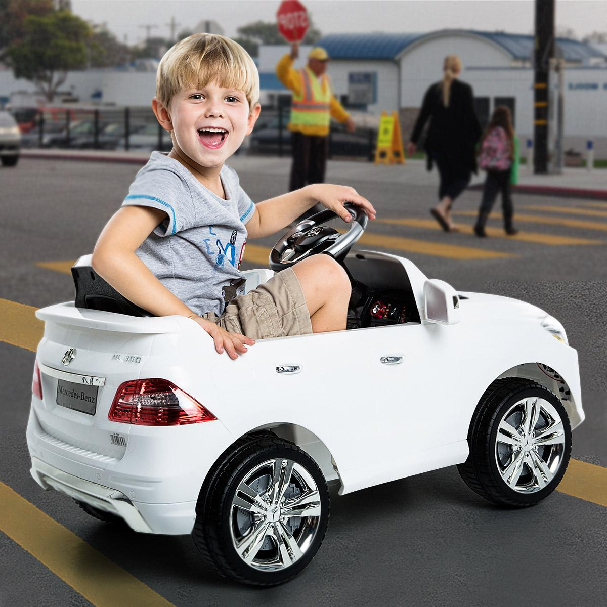 Costzon white mercedes benz ml350 6v electric for Mercedes benz kids car