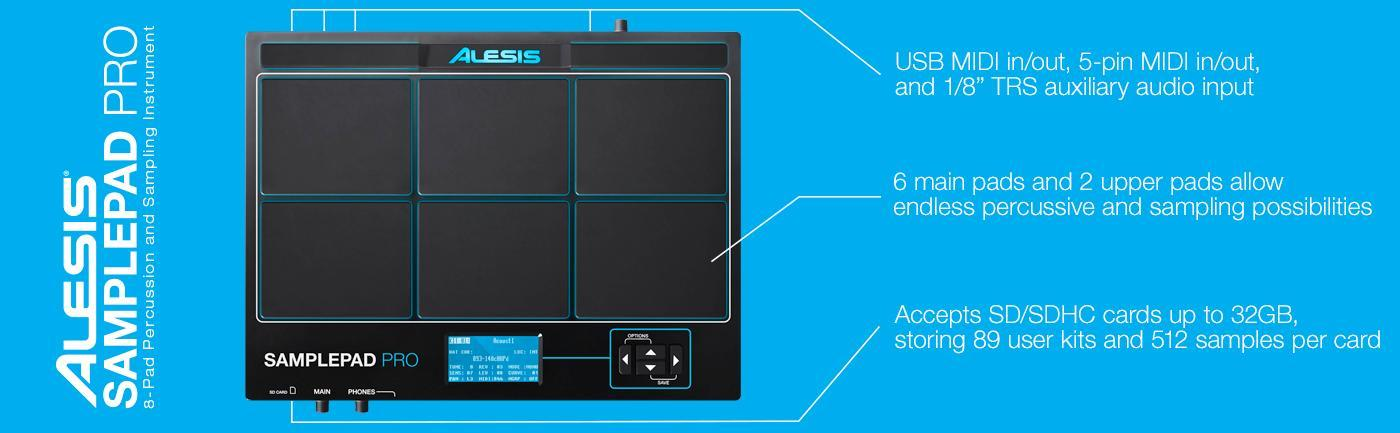 Alesis Sample Pad Pro   Percussion and Sample-Triggering Instrument With  Responsive Dual Zone Rubber Pads, Active Blue LED Illumination, Expansion