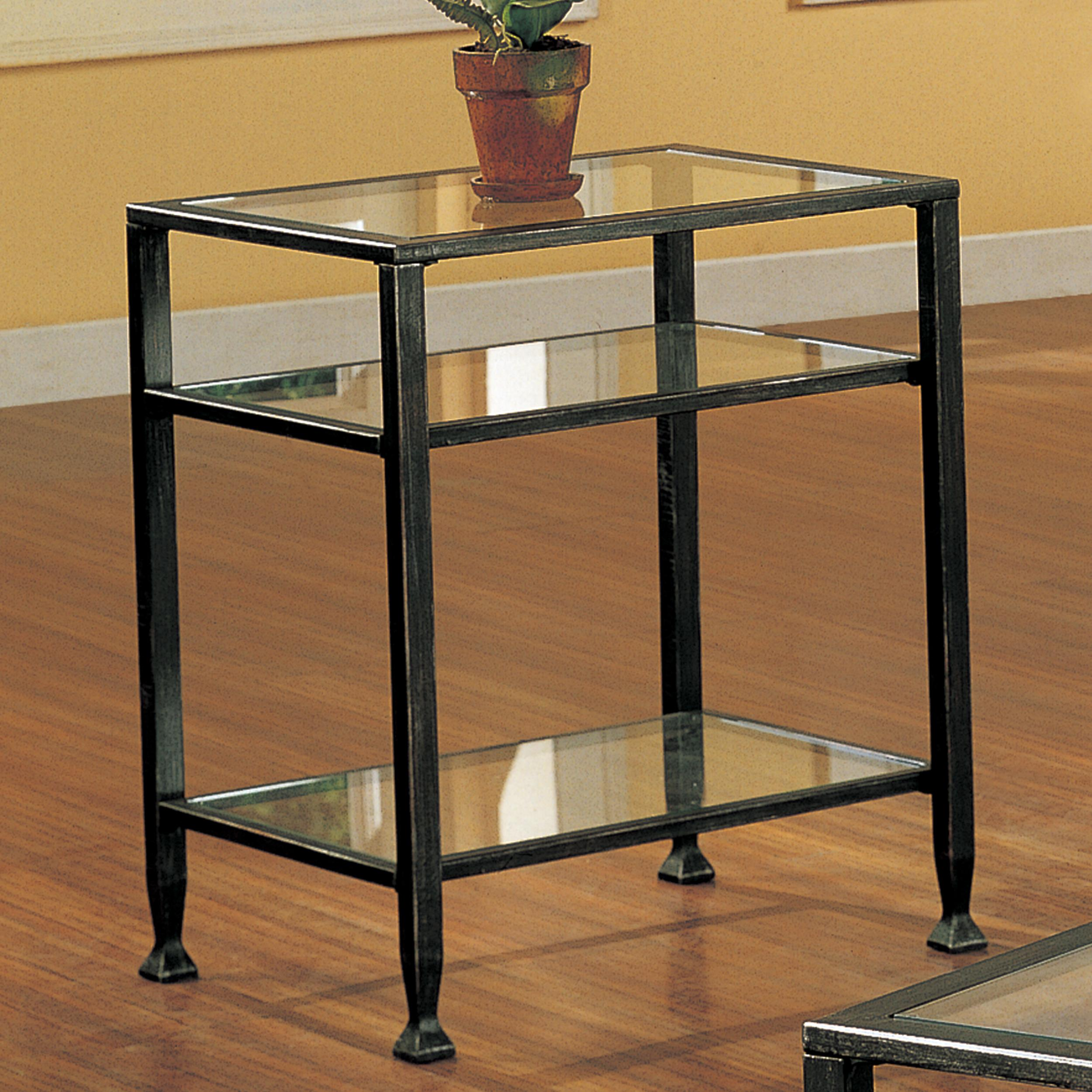 Southern enterprises bunching glass side end table black with silver distressed Black glass side tables for living room