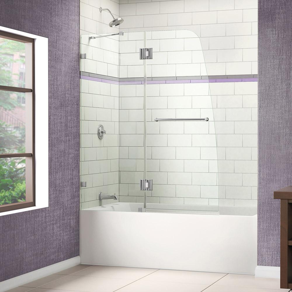 Hinged Glass Tub Enclosures : Dreamline aqua lux in w h frameless hinged