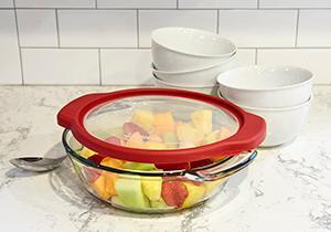 glass; bakeware; lids; colorful; table decor; TrueFit