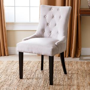 Franklin Cream Microsuede Tufted Dining Chair