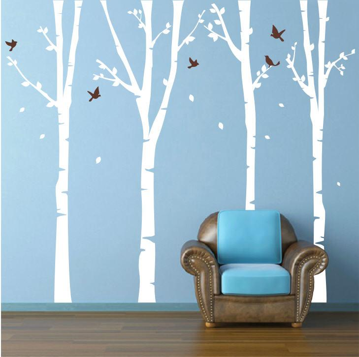 Amazoncom Pop Decors Vinyl Art Wall Decals Four Super Birch - Vinyl wall decals birch tree