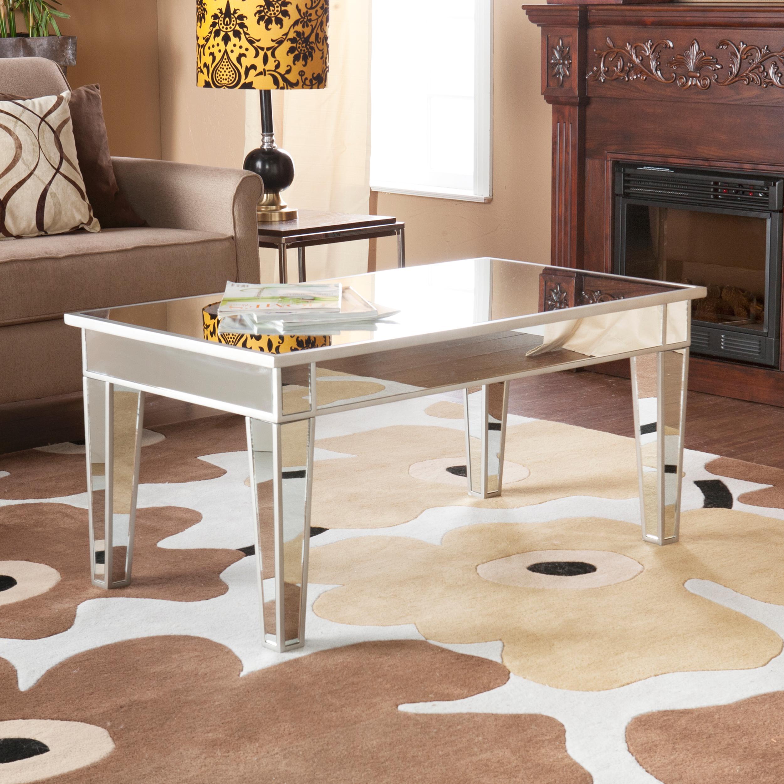 Amazon Com Sei Mirage Mirrored Cocktail Table Kitchen