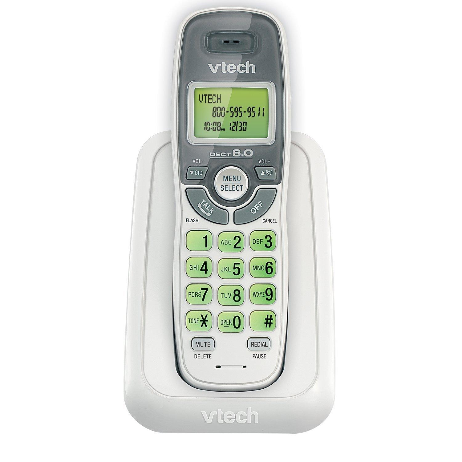 vtech cs6114 dect 6 0 cordless phone with caller id call waiting white grey with 1. Black Bedroom Furniture Sets. Home Design Ideas