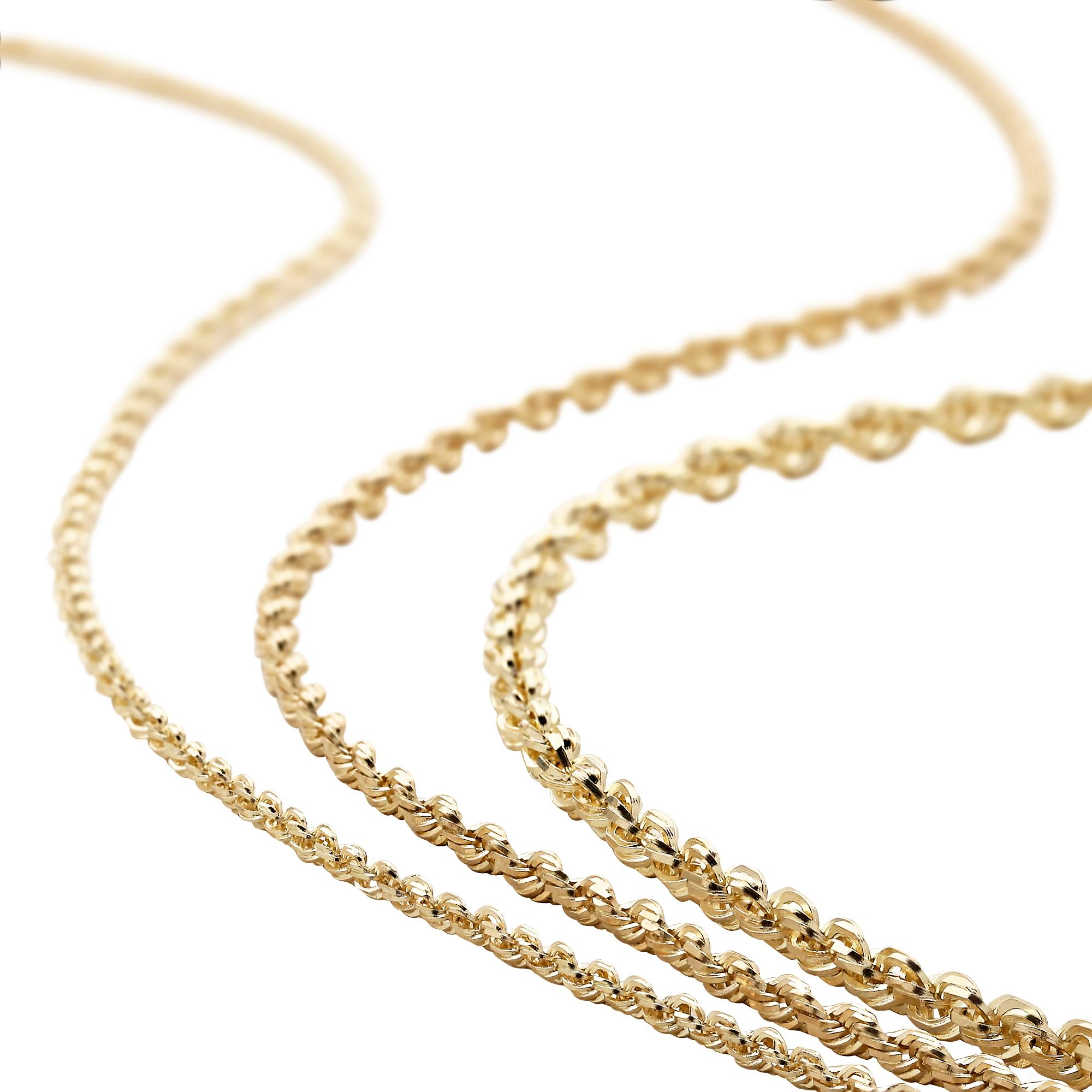 thin twisted yellow solid style cut diamond rope necklace inch chain mm light hollow gold