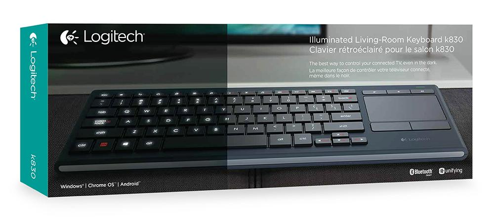 Logitech K830 Illuminated Living-Room Wireless Touchpad Keyboard ...