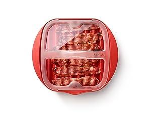 microwavce bacon, cooked bacon, no mess bacon