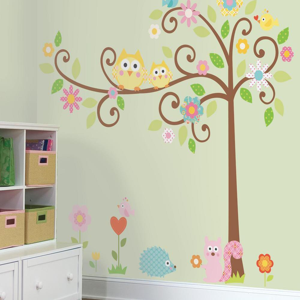 Owl bedroom wall stickers choice image home wall decoration ideas amazon roommates rmk1439slm scroll tree peel stick wall from the manufacturer scroll tree wall decals amipublicfo amipublicfo Gallery