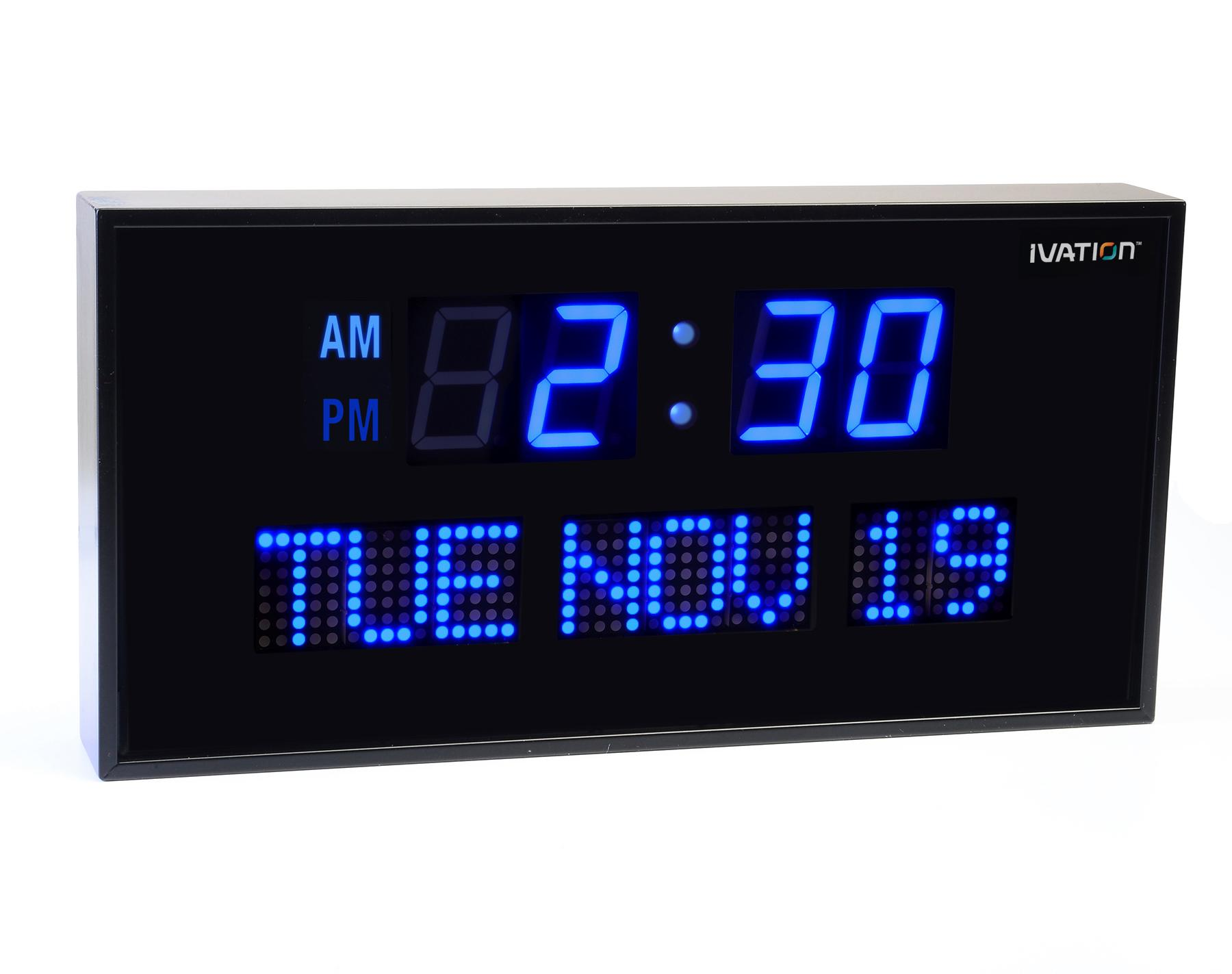 Amazoncom Ivation Big Oversized Digital Blue LED Calendar Clock