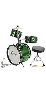 green junior drum set
