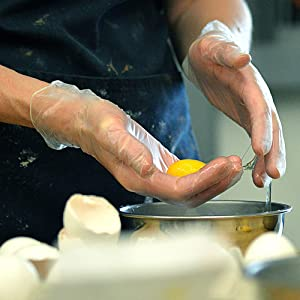 Food Service, In Use, Action, Glove, Egg Yoke, Cooking, Baking, AMMEX Gloves, Vinyl, Smooth