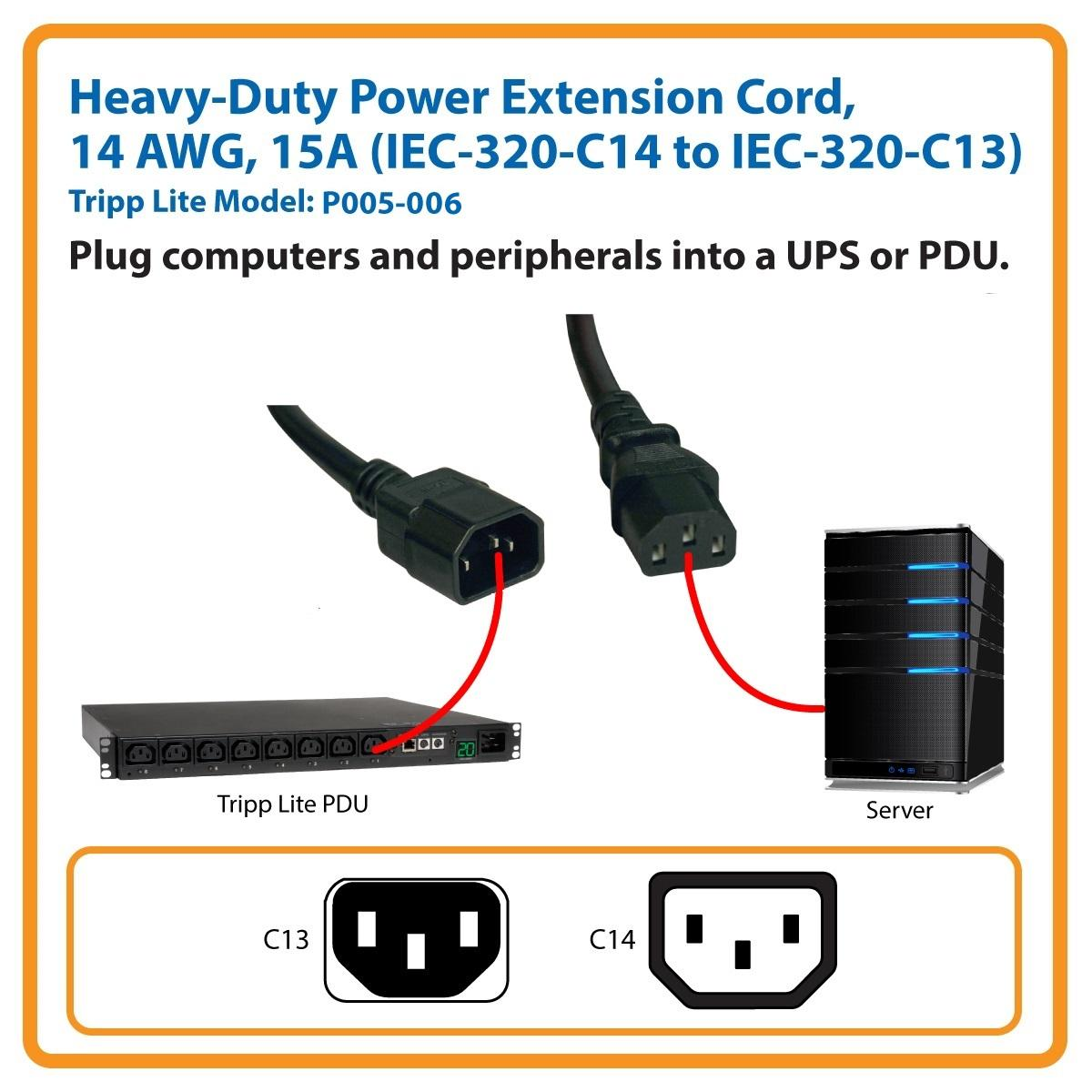 Amazon Com Tripp Lite Heavy Duty Power Extension Cord 15a