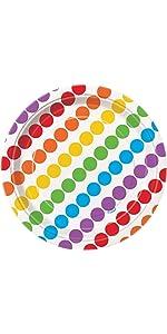 Rainbow Party Dessert Plates, 8ct