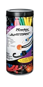 Master Lock 3023AT Twin Wire Bungee Cord Assortment; Assorted Sizes and Colors; 24 Pack
