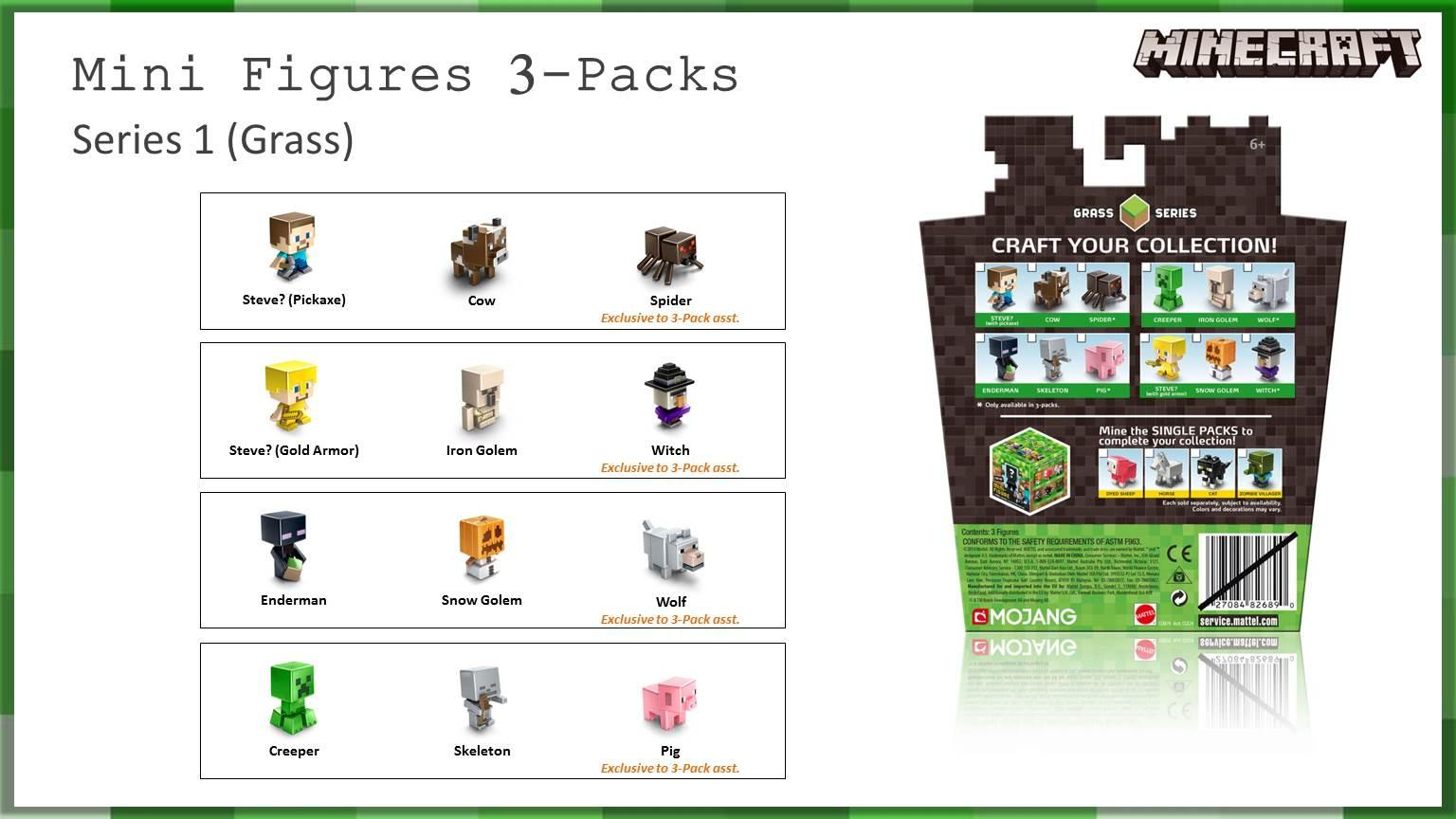 Amazon.com: Minecraft Collectible Figures Wolf, Enderman & Snow Golem