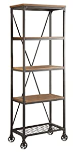 Homelegance Wood and Metal Bookshelf