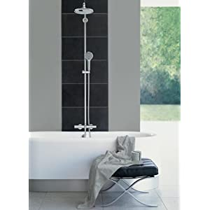 grohe euphoria tubshower system with shower head and hand shower