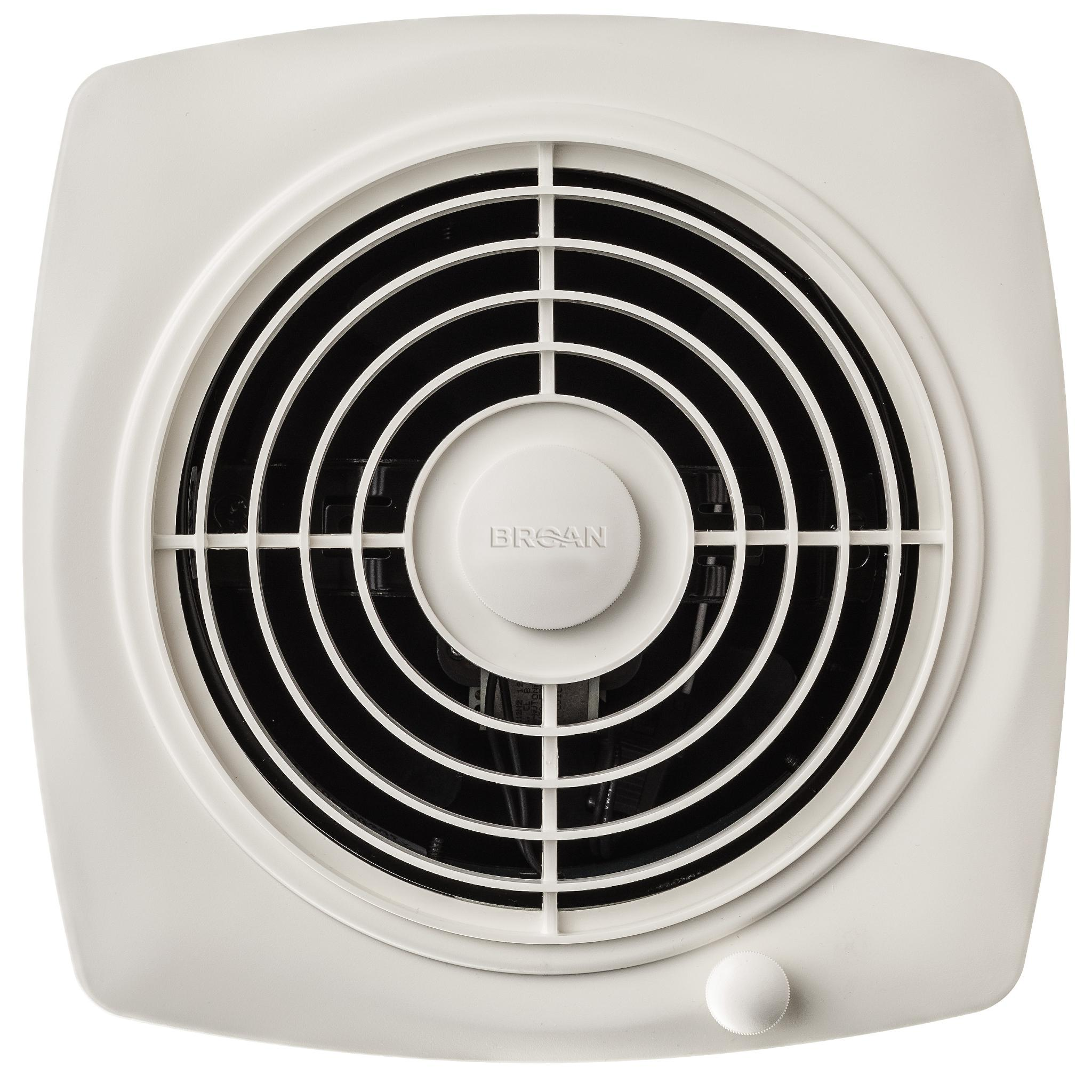 Broan-Nutone 509S Through-the-Wall Ventilation Fan, White Square Exhaust  Fan, 6.5 Sones, 180 CFM, 8\