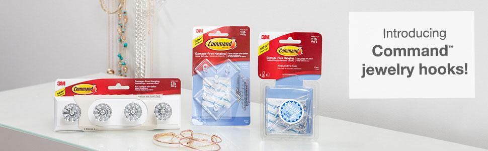 Command Crystal Knob Jewelry and Scarf Rack, Quartz