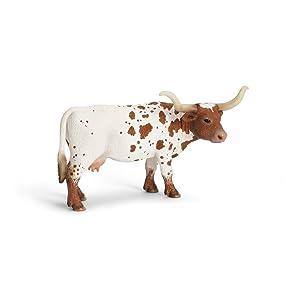 Schleich TEXAS LONGHORN COW /& CALF solid plastic toy farm pet animal NEW *