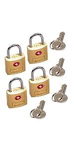 TSA-Accepted Solid Brass Locks w/Key