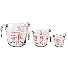 anchor hocking; glass; glassware; measuring cups; 1 cup; 2 cup; 4 cup; set; prep; best selling