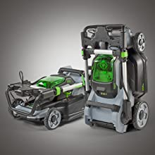 mower, fold flat, space saving