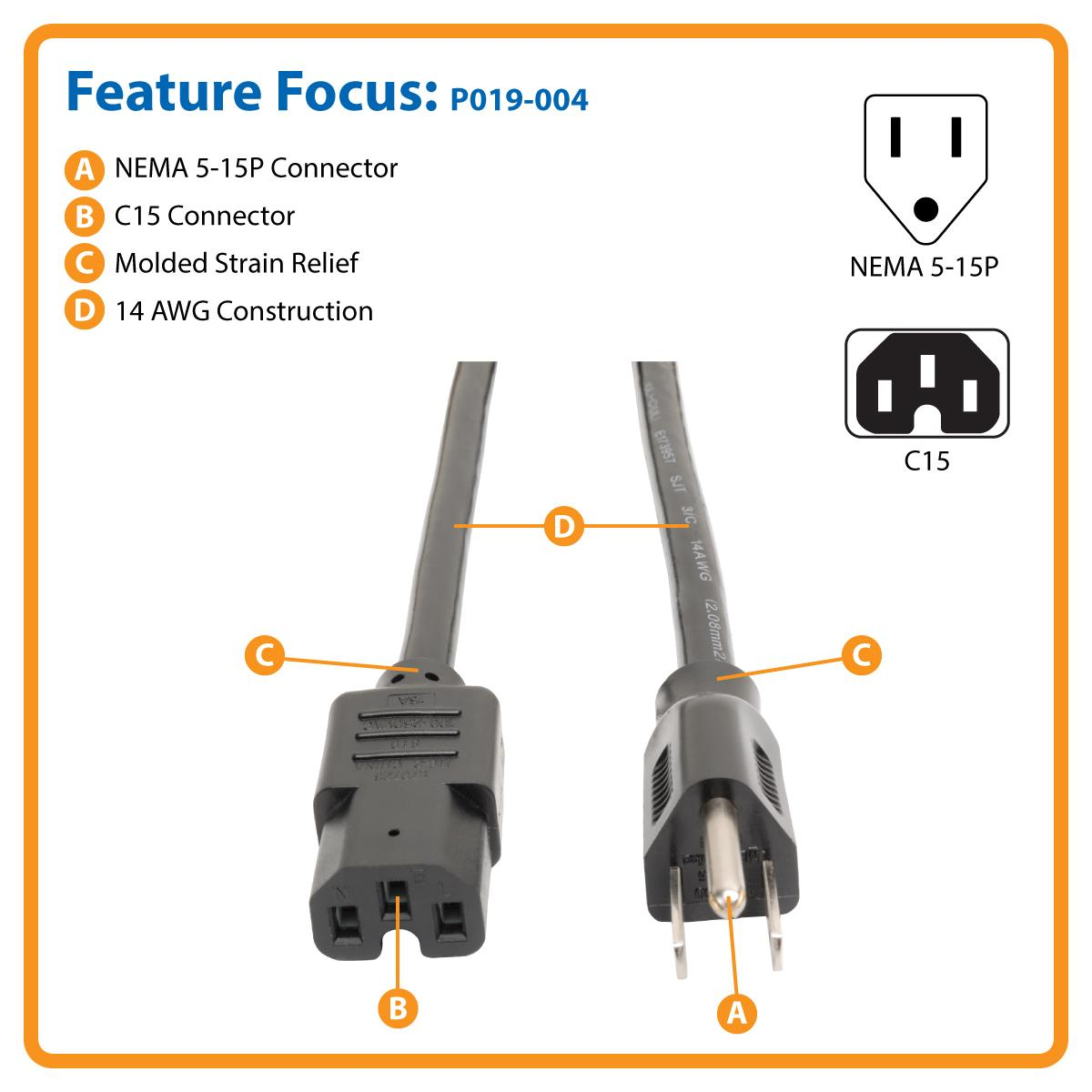 Tripp Lite Heavy Duty Power Cord 15a14awg Nema 5 15p Iec320 C14 Wiring Plug C13 Connector C15 Computer Socket View Larger