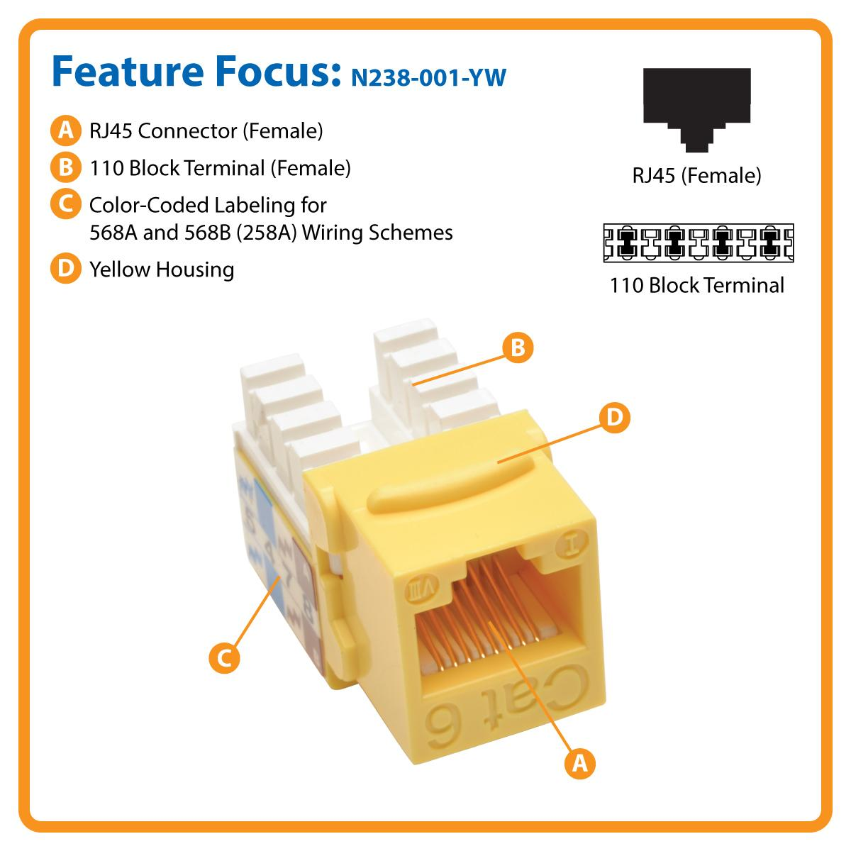 amazon com tripp lite cat6 cat5e 110 style punch down keystone cat6 cat5e 110 style punch down keystone jack yellow