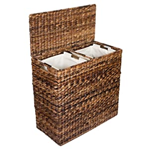 Birdrock home oversized divided hamper with liners espresso made of natural - Divided clothes hamper ...