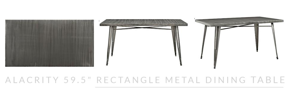 Amazoncom Modway Alacrity Dining Table Gun Metal Tables - 4x8 steel table