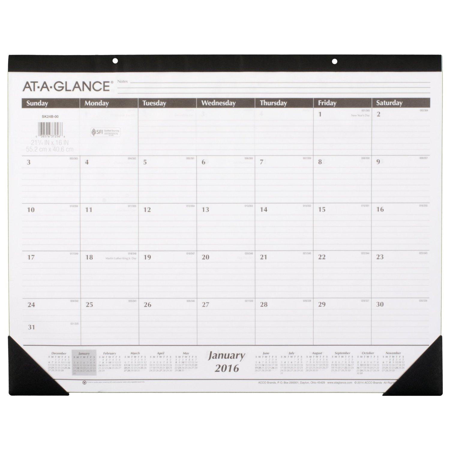 Amazoncom ATAGLANCE Monthly Desk Pad Calendar 2016 Ruled 213