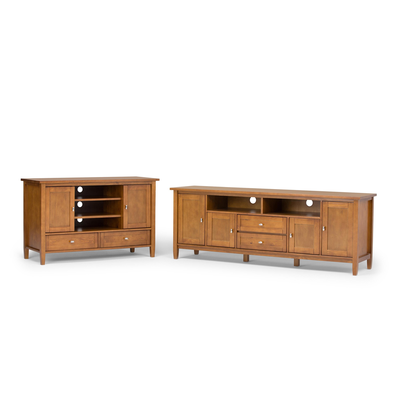 simpli home warm shaker solid wood tv media stand for tvs up to 52 honey brown. Black Bedroom Furniture Sets. Home Design Ideas