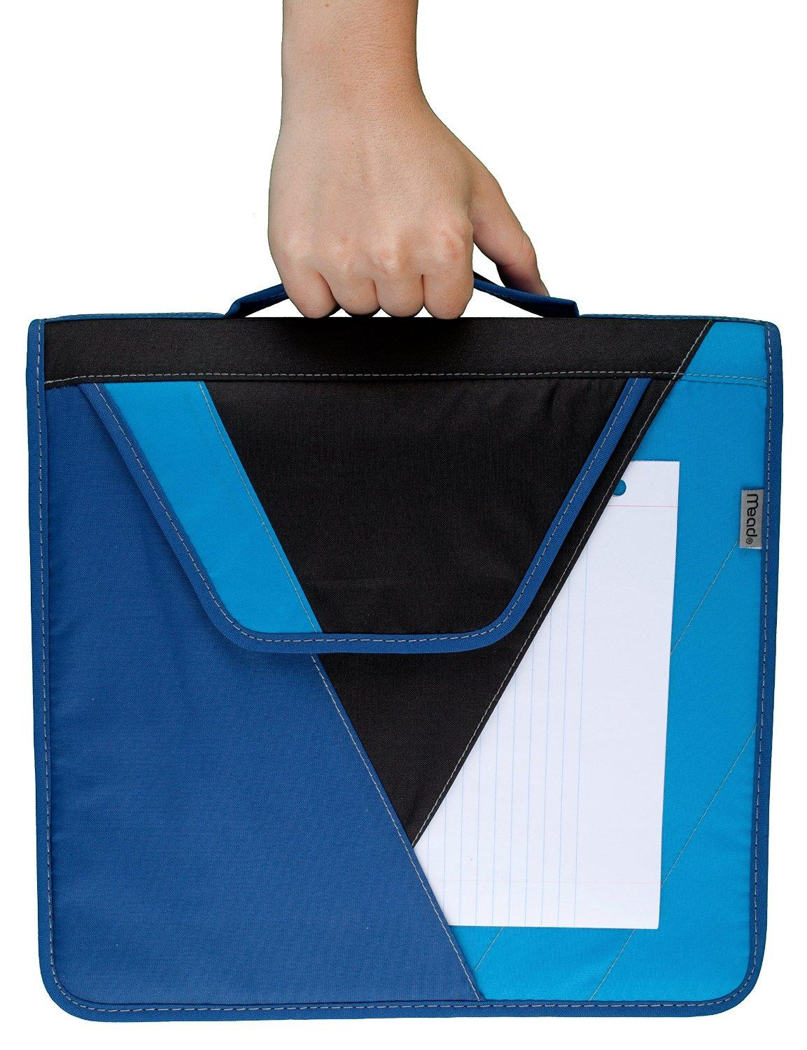 Mead 2 inch zipper binder with handle includes interior and exterior pockets red for Trapper keeper 2 sewn binder with exterior storage
