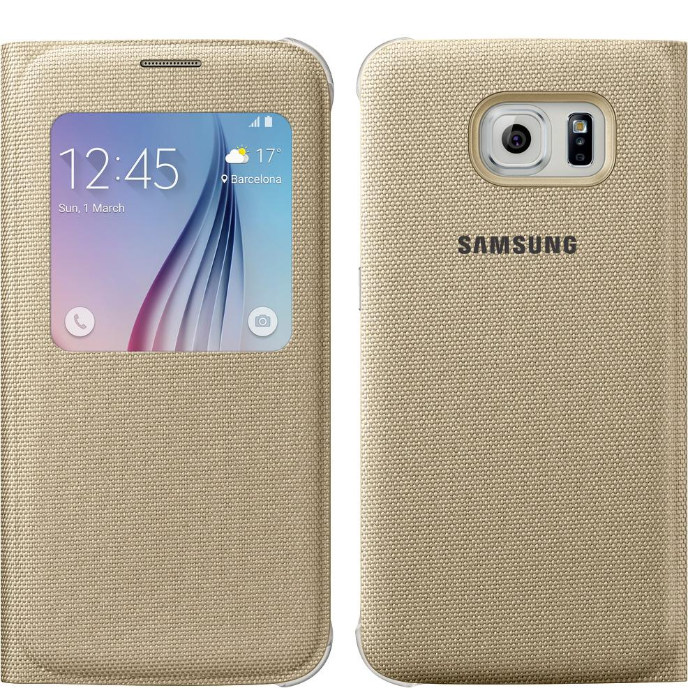 pretty nice f8cb3 2e525 Samsung S-View Flip Cover for Samsung Galaxy S6 - Gold Fabric