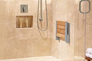 Moen Teak Wood Folding Shower Seat, Aluminum (DN7110) - Bathtub ...