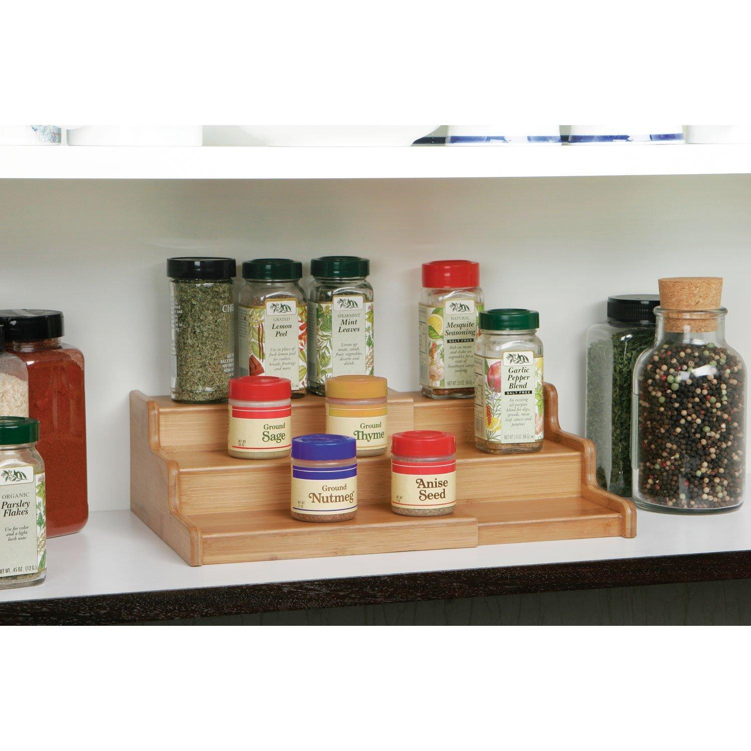 Kitchen Cabinet Spice Rack Organizer: Amazon.com: Seville Classics 3-Tier Expandable Bamboo