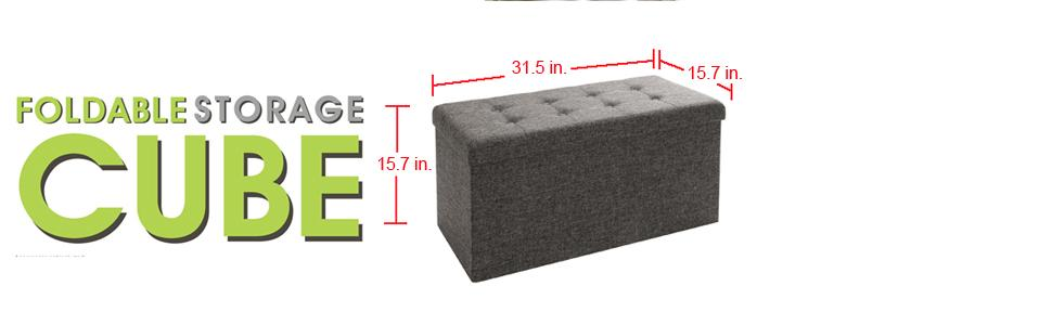 Amazoncom Seville Classics Foldable Storage Bench Ottoman