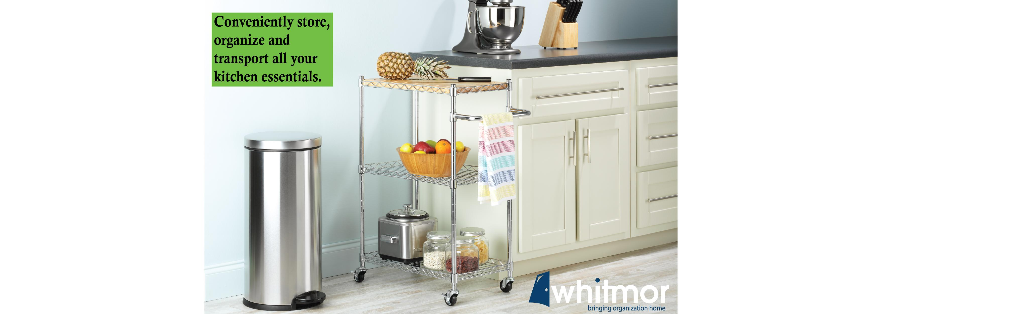 Amazon Whitmor Supreme Kitchen Cart with Wheels Wood