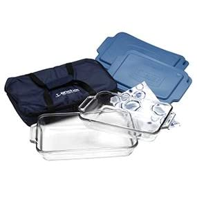 anchor hocking; glass; bakeware; tote; easy transport; dishes; storage