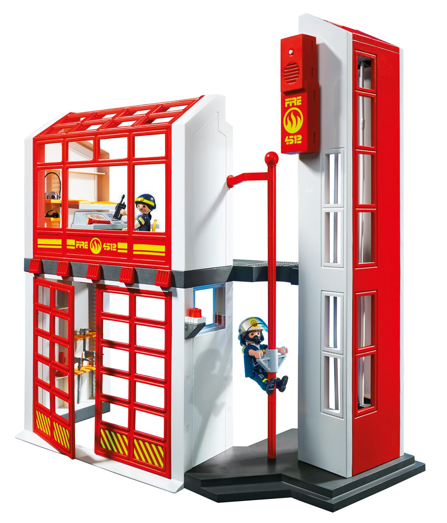Amazon.com: PLAYMOBIL Fire Station with Alarm Set: Toys & Games
