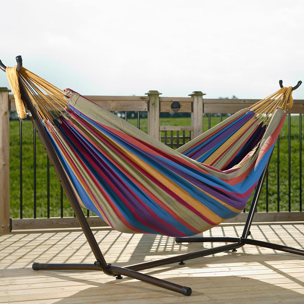 three fabrics to choose from amazon     vivere double hammock with space saving steel stand      rh   amazon