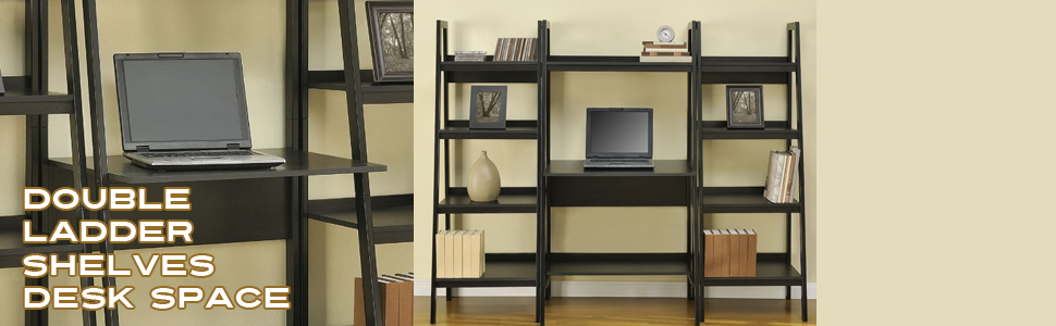ladder shelving, double, desk space