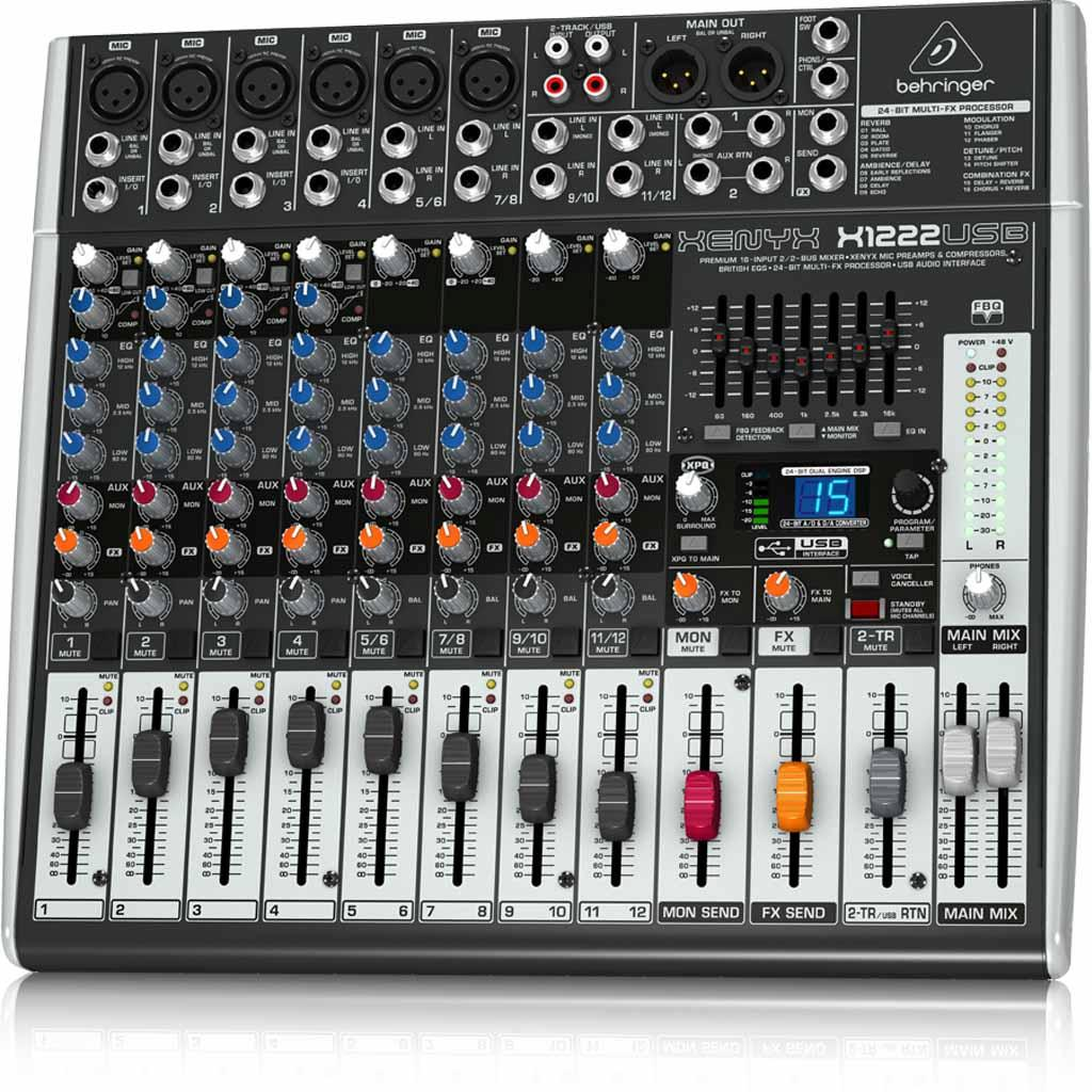 behringer xenyx x1222usb premium 16 input 2 2 bus mixer with usb audio interface. Black Bedroom Furniture Sets. Home Design Ideas